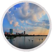 On The River Round Beach Towel by Rick Berk