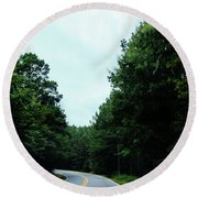 Round Beach Towel featuring the photograph On The Road by Andrea Anderegg