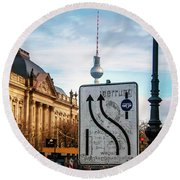 On The Road In Berlin Round Beach Towel