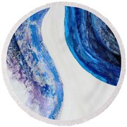 On The Road In Blue Round Beach Towel