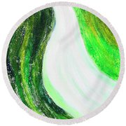 On The Road In Green Round Beach Towel