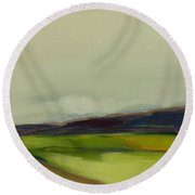 Round Beach Towel featuring the painting On The Road by Michelle Abrams