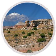On The Road To Cathedral Valley  Round Beach Towel