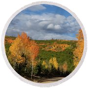 On The Road To Spirit Lake Round Beach Towel