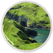 Round Beach Towel featuring the photograph On The Road To Tintagel by Connie Handscomb