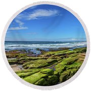 Round Beach Towel featuring the photograph On The Rocky Coast by Peter Tellone