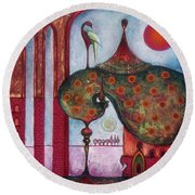 Round Beach Towel featuring the painting On The Rooftop Of The World by Anna Ewa Miarczynska