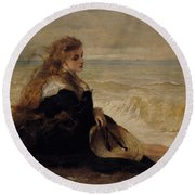 On The Seashore Round Beach Towel by George Elgar Hicks