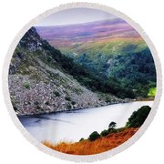On The Shore Of Lough Tay. Wicklow. Ireland Round Beach Towel