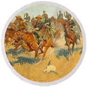 Round Beach Towel featuring the photograph On The Southern Plains Frederic Remington by John Stephens