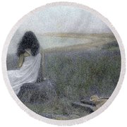 Round Beach Towel featuring the photograph On The Vineyard by Wayne King