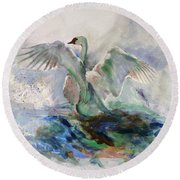 On The Water Round Beach Towel by Khalid Saeed
