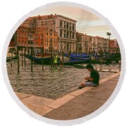 Round Beach Towel featuring the photograph On The Waterfront by Anne Kotan