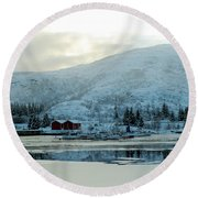 On My Way Through Lofoten 2 Round Beach Towel by Dubi Roman