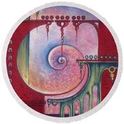 Round Beach Towel featuring the painting On The Way To The Treasury by Anna Ewa Miarczynska