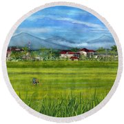 Round Beach Towel featuring the painting On The Way To Ubud 3 Bali Indonesia by Melly Terpening