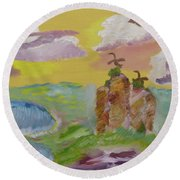 On The Wild Side Round Beach Towel by Meryl Goudey