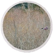 On The Wing In The Wetlands Round Beach Towel