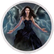 Round Beach Towel featuring the painting On The Wings Of The Storm by Amyla Silverflame
