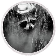 On Watch - Bw Round Beach Towel