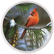 On Watch - Cardinal Round Beach Towel
