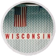 On Wisconsin  Round Beach Towel