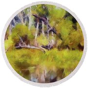 Once A Great Tree Round Beach Towel