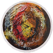 Round Beach Towel featuring the painting Once A Lion by Stuart Engel