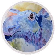 Once In A Blue Moose Round Beach Towel by Sandy McIntire