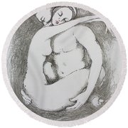 Round Beach Towel featuring the drawing Once Lovers by Marat Essex