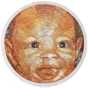 Once Upon A Baby Round Beach Towel by Bankole Abe