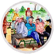 Once Upon A Park Bench Round Beach Towel