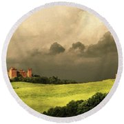Once Upon A Time In Tuscany Round Beach Towel