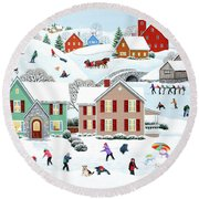 Once Upon A Winter Round Beach Towel