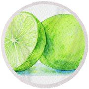 One And A Half Limes Round Beach Towel