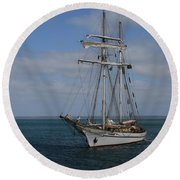Round Beach Towel featuring the photograph Approaching Kingscote Jetty by Stephen Mitchell