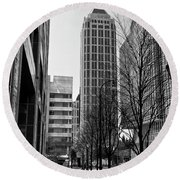One Atlantic Center In Black And White Round Beach Towel