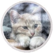 One Behind The Glass Round Beach Towel