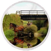 One Brown Horse Transportation Hay On Wooden Cart Round Beach Towel