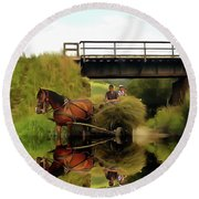 Round Beach Towel featuring the painting One Brown Horse Transportation Hay On Wooden Cart by Odon Czintos