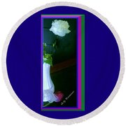 One Carnation And One Rose Bud Round Beach Towel