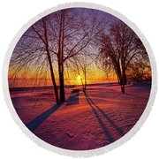 Round Beach Towel featuring the photograph One Day Closer by Phil Koch