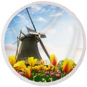 One Dutch Windmill Over  Tulips Round Beach Towel