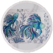 One Fish, Two Fish, Lilac Green And Blue Fish Round Beach Towel