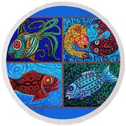One Fish Two Fish Round Beach Towel by Sarah Loft