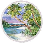 One-foot-island, Aitutaki Round Beach Towel