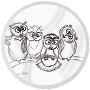 One Happy Family Round Beach Towel