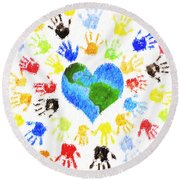 One Heart Round Beach Towel