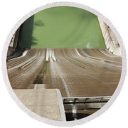 Round Beach Towel featuring the photograph One Heckuva Waterslide by Carol Lynn Coronios