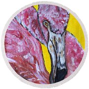 Round Beach Towel featuring the painting One Hot Pink Flamingo by Ella Kaye Dickey